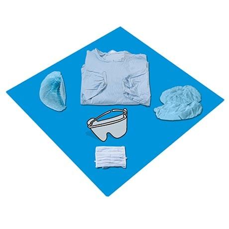 Kit Blouse Stérile  Bleue - 35g/m2 - NON PLASTIFIÉE - Poignets Élastiques - Livrée avec Accessoires Supplémentaires de Protection - Utilisation en Bloc Recommandée